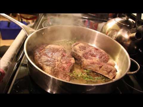 Sous vide medium well ribeye steaks