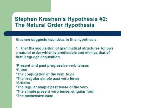 Stephen Krashen's 5 Hypotheses of Second Language Acquisition