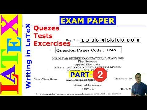 Teacher's Corner: Designing Exam Papers in LaTeX -02 (LaTeX Advanced Tutorial-23)