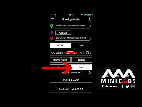 Make card bookings with the AAA Minicabs App