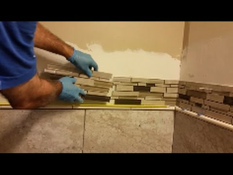How to Install Glass Mosaic Tile in bathroom shower - Part 5  - Mosaic Installation