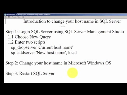 Introduction to change host name in SQL Server