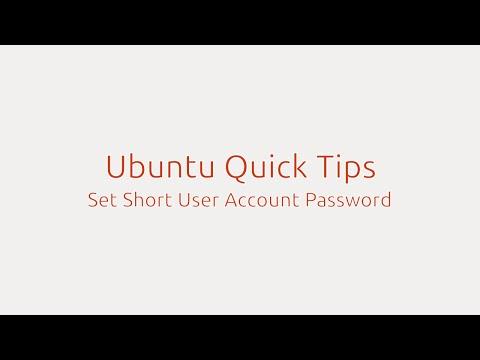 Ubuntu Quick Tips: Set Short User Password