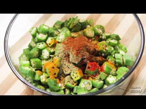 Crispy bhindi sabzi in oven - by crazy4veggie.com