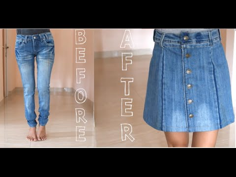 DIY Turn Your Old Jeans Into Skirt