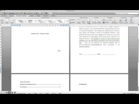Word 2011 Mac - How to set up template for assignments