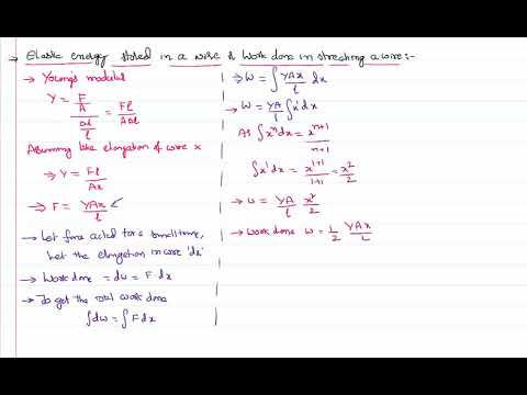 Elastic Potential Energy Stored in Wire in Mechanical Properties of Solids for IIT-JEE and NEET