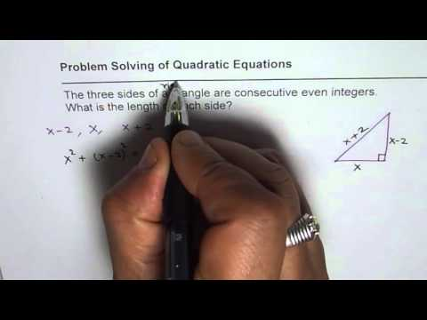 Find Three Sides of Right Triangle with Consecutive Even Sides Quadratic Application