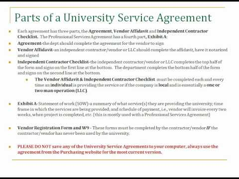 Training for Policies and Procedures for University Service Agreements