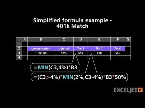Simplified formula example 401k Match