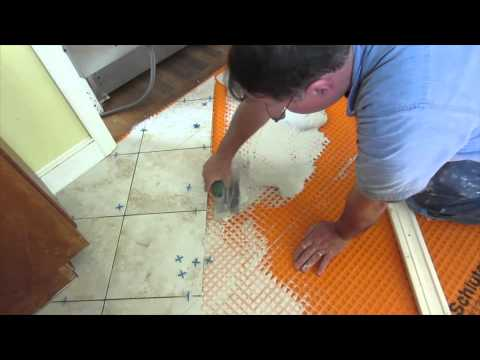 Diagonal tile floor replaced with new tile on Schluter Ditra  Part 1 through 6