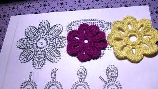 Мотив №8.2. Цветок на 8 лепестков. Вариант 2.  Вязание ИК для начинающих