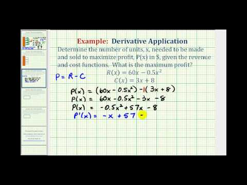 Ex:  Derivative Application - Maximize Profit