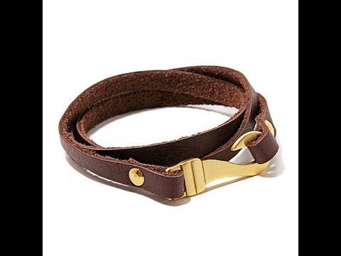 Men's Leather Wrap Stainless Steel Hook Bracelet