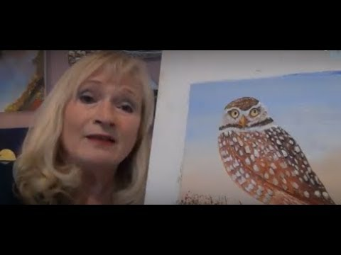 How to Paint an owl with acrylic paint for beginners, adding grass and flowers, lesson 6 finished