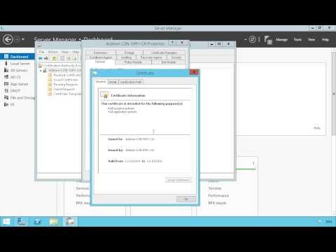Properties of Certificate Authority in Windows Server 2012
