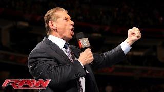 The returning Mr. McMahon cancels the match between Bo Dallas and R-Truth: Raw, December 14, 2015