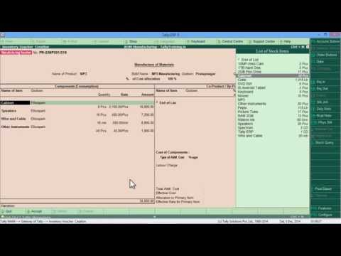 Module 25 of 43 | Bill of Material, Production and Manufacture Entry in Tally ERP 9 in Hindi
