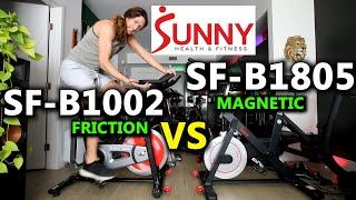 Sunny SF-B1002 vs Sunny SF-B1805 /// Friction vs Magnetic Resistance exercise bike