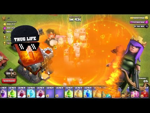 Clash of Clans Hack - Unlimited poison spell Attack Vs Archer Queen ||GamePlay||