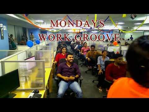 Flash mob dance at work