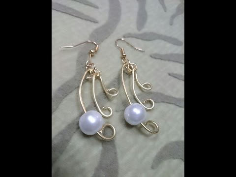 How to Make Wire Jewelry Ideas - Pearl Simplicity Earrings - Tutorial .