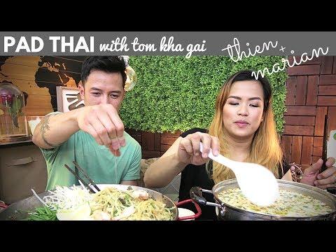 [mukbang/friendbang with THIEN & MARIAN]: Pad Thai (Stir-Fried Noodles) & Tom Kha Gai (Coconut Soup)