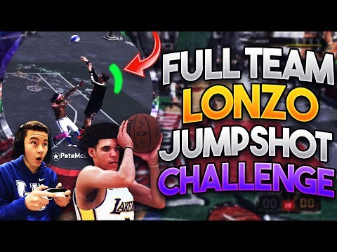 WHOLE TEAM LONZO BALL UGLY JUMPSHOT CHALLENGE w/ 99 OVERALL!! Secret Best Jumpshot in NBA 2K18!?