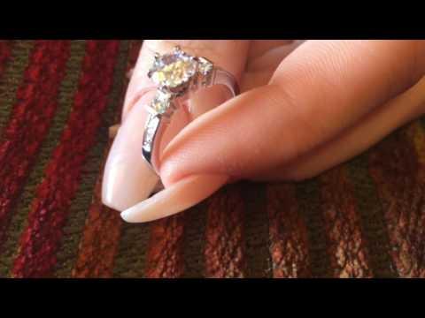 Platinum ring high quality cubic zirconia 1 carat engagement ring