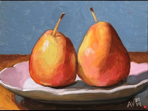 How to paint pears - time lapse oil painting demo