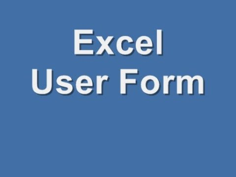 Excel User Form - How To Create Excel User Form