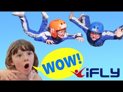 Ava Isla and Olivia Learn to FLY ! Kids go Indoor Skydiving a FUN DAY at IFLY !