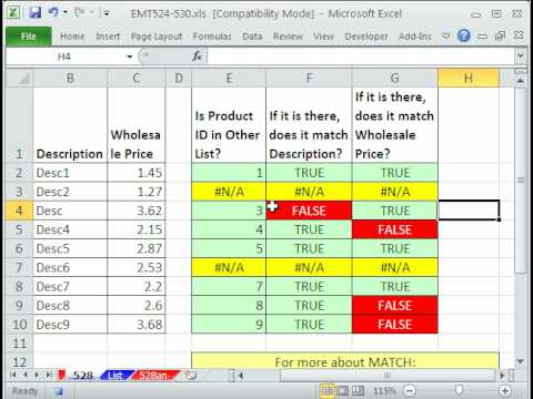 Excel Magic Trick 528: Check Two Lists For Discrepancies MATCH and VLOOKUP functions