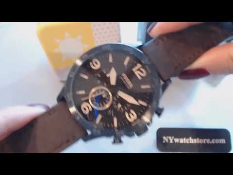 Men's Fossil Nate Chronograph Leather Strap Watch JR1487