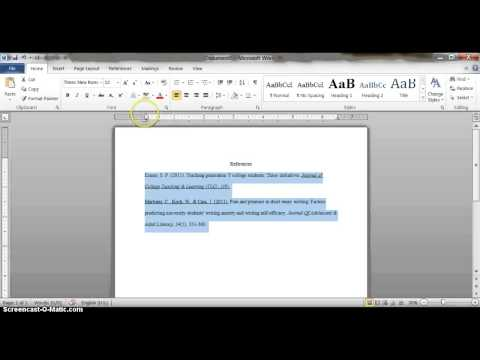 Setting a Hanging Indent - Microsoft Word