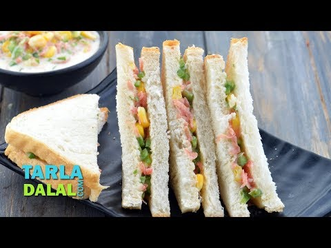 Cheesy Corn and Carrot Sandwich, Travel Sandwich by Tarla Dalal
