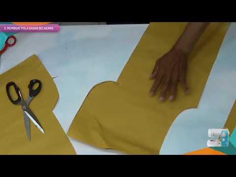 Belajar cara membuat pola baju dan menjahit blus wanitamenggunakan mesin jahit portable BAGIAN 1