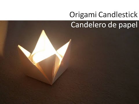 Origami #Candle holder, tealight DIY Tutorial  - Candelabro de Papel