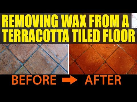Removing wax from a Terracotta tiled floor in Battersea