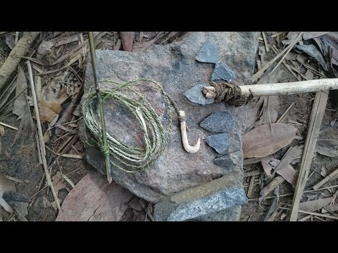 Primitive Technology:used-Build FISHING ROD-Primitive Life!