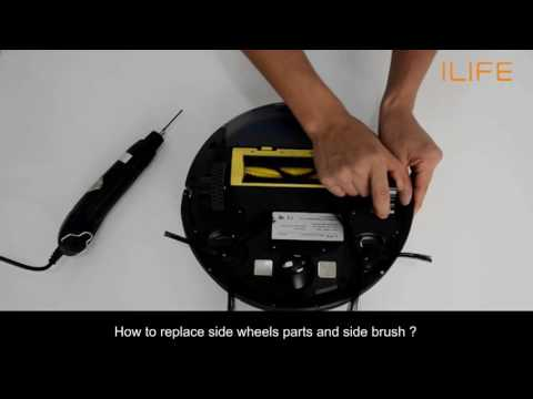 How to replace side wheels parts and side brush | ILIFE A4s Robot Vacuum
