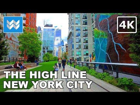Walking tour of The High Line in Manhattan, New York City 【4K】