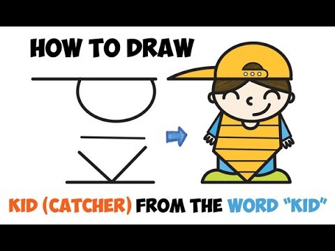 How to Draw a Cartoon Kid Boy Baseball Catcher Word Cartoon Toon Easy Step by Step Drawing for Kids