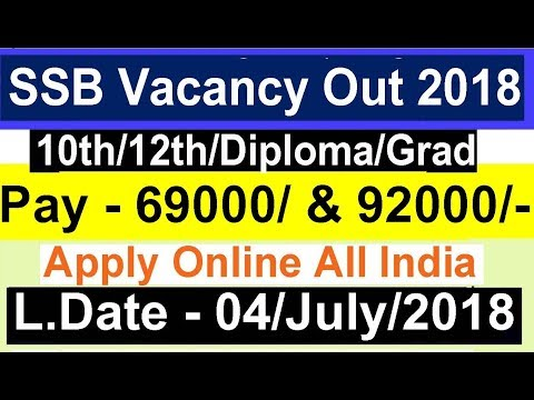SSB Vacancy out Apply Online All India Latest Government Job 2018