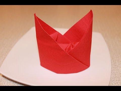 Napkin folding techniques - The Bishop's Hat Napkin Fold