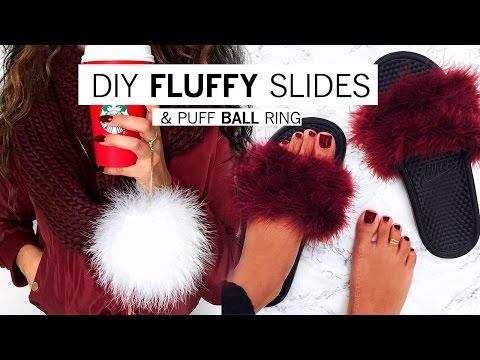 DIY Fluffy Slides & Puff Ball Ring | Alyssa Forever