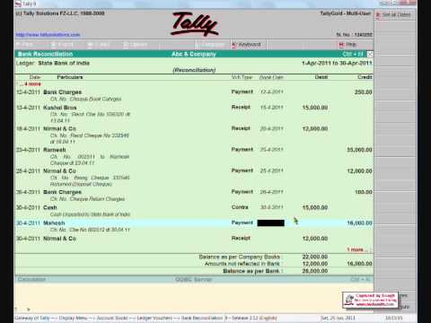 Bank Reconciliation in tally