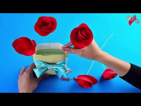 Easy Rolled Paper Roses for Birthday Gift, Mothers Day, Wedding Flowers or Valentines Day-Flower 1