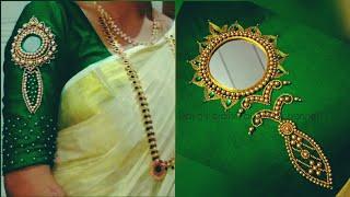 Vaal Kannadi Design Work| Aari Work Tutorial| On Chudidhar Top Or On Sleeves Of Blouse