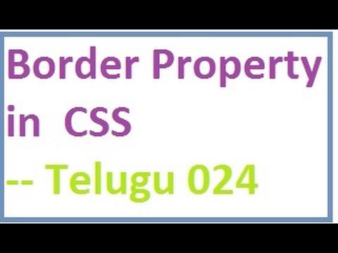 Border Property in CSS  --  Telugu 24-vlr training